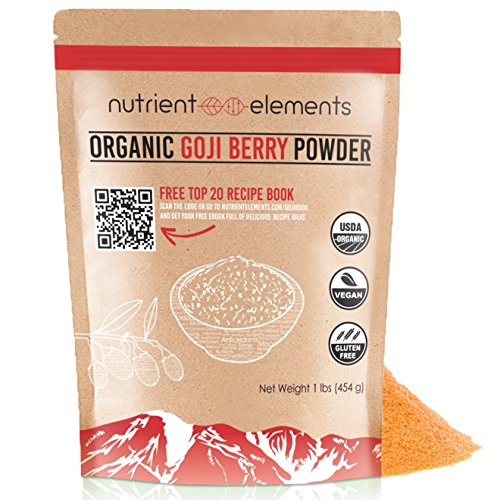 Organic Goji Berry Powder- 1 lb/16oz (454g) - USDA Certified - Great With Water, Smoothies, Shakes - Natural Superfood - NON-GMO Berries with Resealable Bag by Nutrient Elements - Free Recipes E-Book