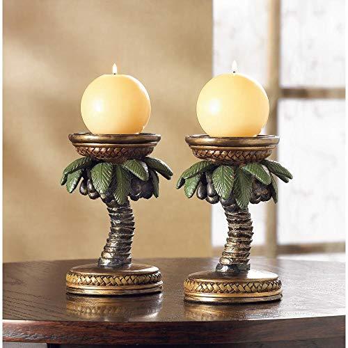 wakatobi 2 Tropical Island Vibe Beach Palm Tree Pillar Candle Holder Stand Art Deco Table