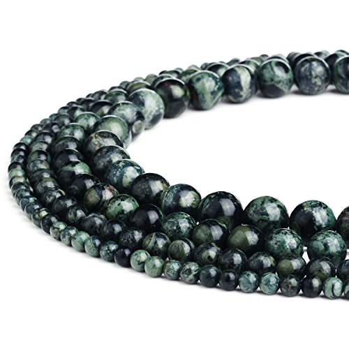 RUBYCA Natural Kambaba Jasper Gemstone Round Loose Beads Green for Jewelry Making 1 Strand - 8mm