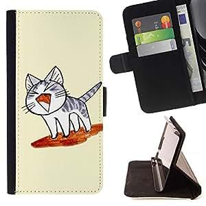 Momo Phone Case / Flip Funda de Cuero Case Cover - Lindo japonés del gato de la tostada del vuelo - HTC One Mini 2 M8 MINI