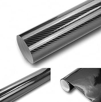 6€//m² 4D Carbon Folie SILBER 500 x 152 cm flexibel Auto KLEBE Folie Wrapping