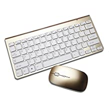 Celendi Whisper-quiet 2.4G Ultra Slim Portable Wireless Keyboard and Mouse Combo for Laptop, Computer PC, Smart TV (Golden)