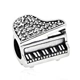 (US) Ollia Jewelry My Magic Piano Solid 925 Sterling Silver Charm with Sparkling Clear CZ Stones Sweet Music European Beads and Charms