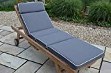 Luxury Garden Sun Lounger Cushion with Premium Filling and Fabric - Cushion Only - Dove Grey