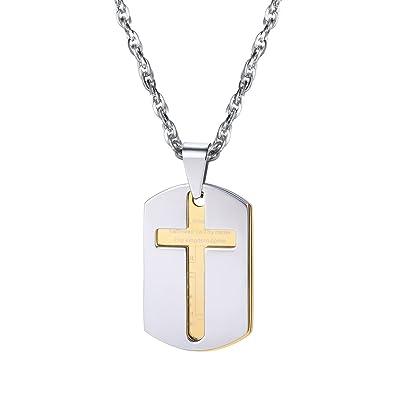 Men cross necklace bible lords prayer pendants with chain 18k gold men cross necklace bible lords prayer pendants with chain 18k gold plated dog tags aloadofball Images