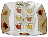 Cheers Collection Liquor Set with 6 Glasses And Tray Tulip - Colorful - Tray 8 '' X 8 '' - Cup 2 '' H