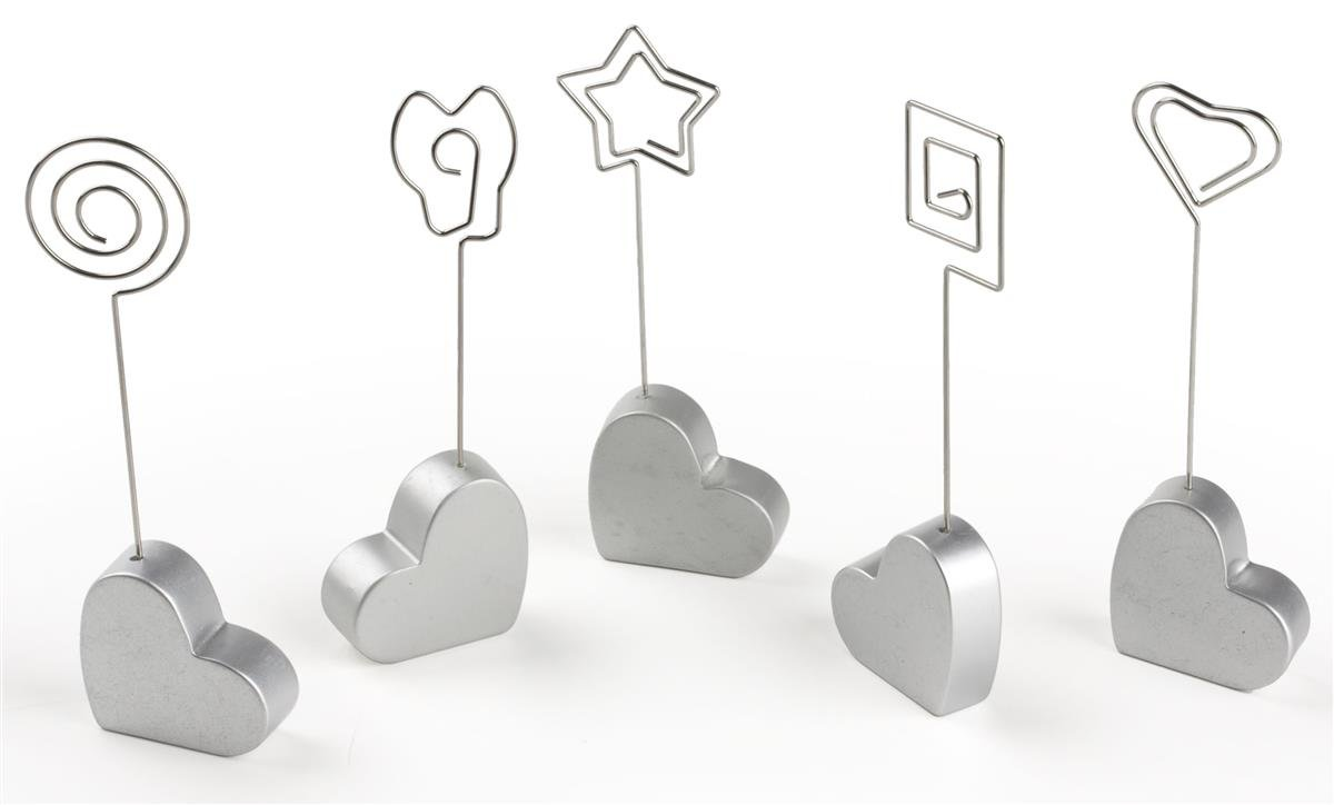 Displays2go 50 Total Units, 10 Sets of 5 Wire Memo Clips with Heart-Shaped Bases for Tabletop Use, Silver (HRTB5CLIP) by Displays2go
