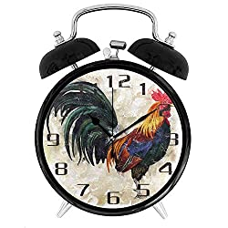 22yiihannz Animal Rooster Alarm Clock Silent Non-Ticking Round Clock Art Painting Home Office School Decor - 4inch