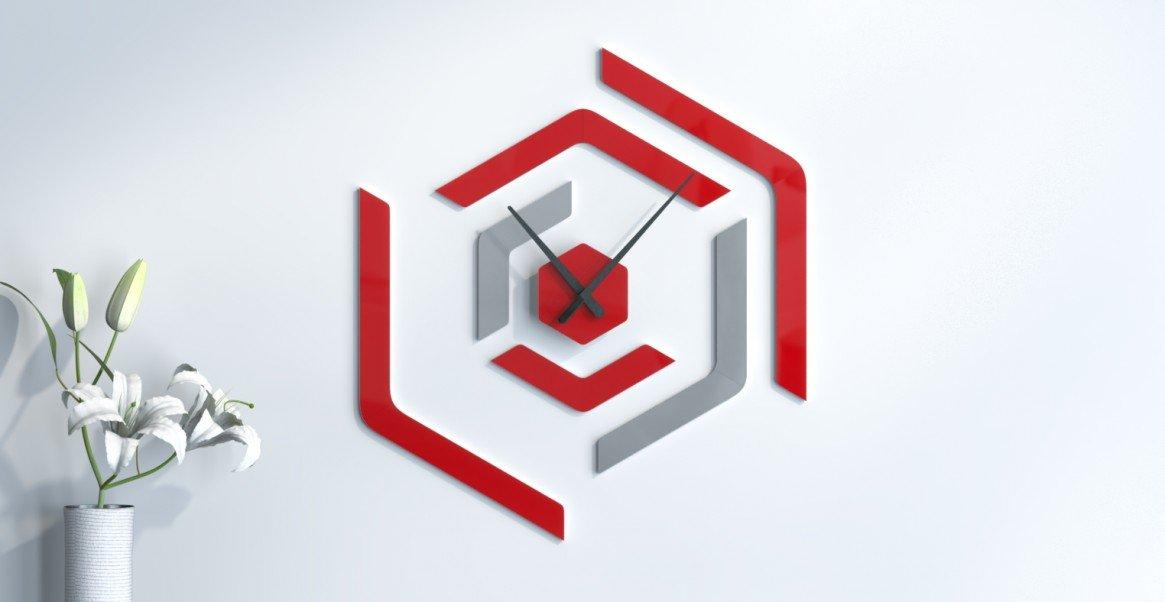 Wanduhr Skandinavisches Design grau silber und rot Wunschtext
