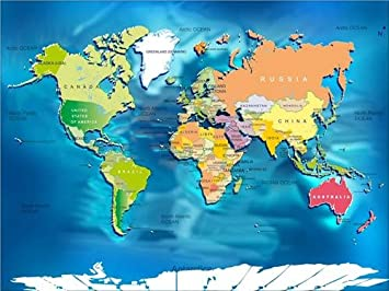 Amazoncom WORLD MAP W COUNTRIES GLOSSY POSTER PICTURE PHOTO - Globe map with countries