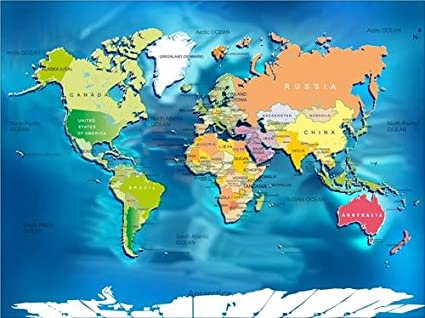 Amazon Com World Map W Countries Glossy Poster Picture Photo Maps