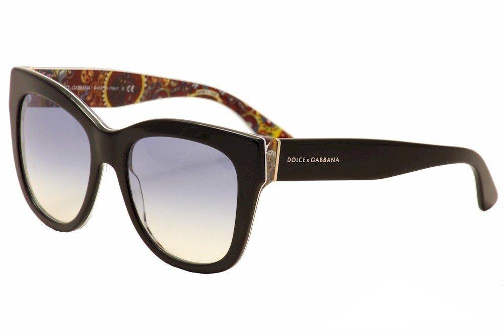 D&G Dolce & Gabbana Women's 0DG4270 Square Sunglasses, Top Black/Print Rose/Grey Gradient, 55 mm