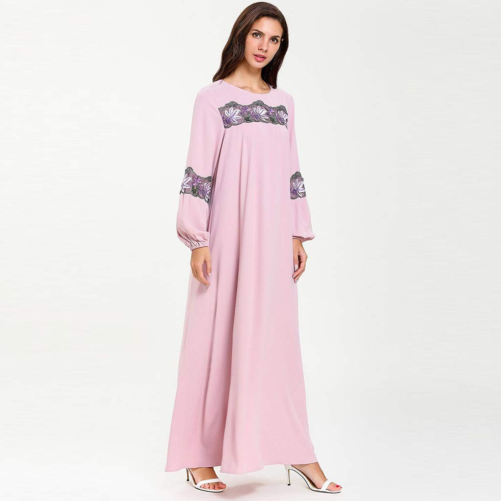 perfectCOCO Women Muslim Dress Elegant Floral Loose Arab Dresses Islam Jilbab Cocktail Robes Pink by perfectCOCO dress (Image #3)