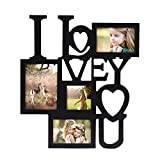"""Adeco 4 Openings Decorative Black Wood ''I Love You'' Collage Wall Hanging Picture Photo Frame, One 5"""" x 7"""", Two 4"""" x 6"""", One 4"""" x 4"""""""