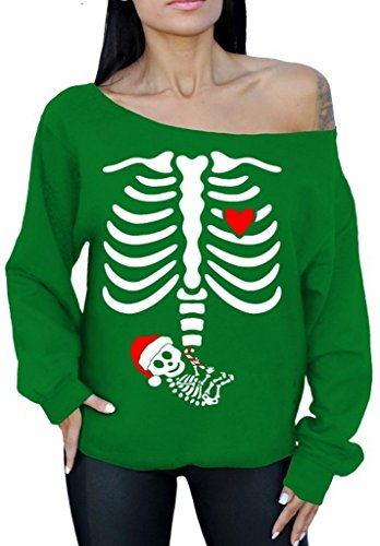 Awkwardstyles Pregnant Xray Skeleton Baby Christmas Off The Shoulder Sweatshirt M Green