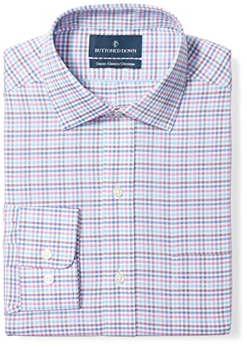 Buttoned Down Men's Classic Fit Spread-Collar Pattern Non-Iron Dress Shirt, Berry/Blue/Navy Check, 16.5'' Neck 35'' Sleeve by Buttoned Down