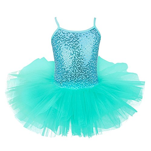 FEESHOW Girls Sequins Glitter Ballet Dress Tutu Skirt Leotard Dance Costumes Turquoise (Ballet Dance Costumes)