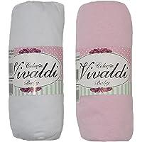 Lençol Avulso Bebe com Elástico Kit 2 peças Rosa e Branco Berço Americano 70cmX130cmX12cm