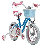Royalbaby Stargirl Girls Bike with Training Wheels and Basket, Perfect Gift for Kids. 18 Inch Wheels, Blue