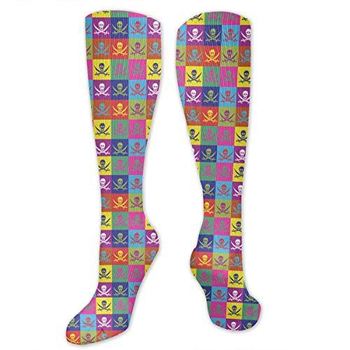 Alfred Weekjey Unisex Adult Casual Cotton Crew Socks Multicolor Flags Jolly Roger Dress Socks