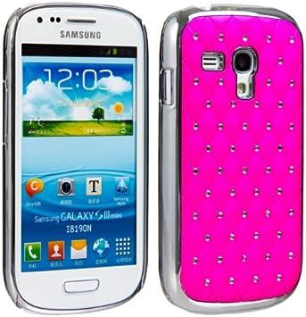 Samsung 013 - Carcasa con aplicaciones de estrás para Samsung Galaxy S3 Mini I8190, color rosa y plateado: Amazon.es: Electrónica