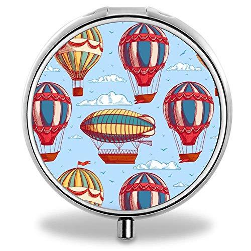 LLgLOOhoOPPPJDh Designed Hot air Balloon Pocket Pill Case Waterproof Pill Holder Small Travel Metal Pill Case for Purse Designed Hot Air Balloon