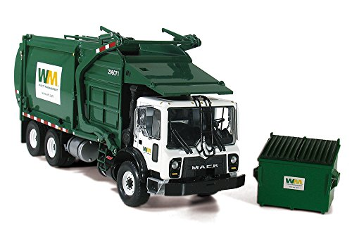 Waste Management Garbage Truck (First Gear 1/34 scale Diecast Collectible Waste Management Mack TerraPro with Wittke Front Loader with Trash Bin (#10-4001))
