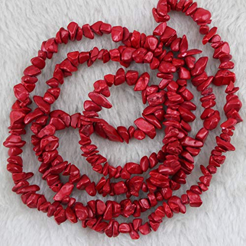 5-8mm Dyed Red Stone Chips Chip Beads Loose Gemstone Beads for Jewelry Making Strand 35 Inch ()