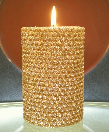 50 hour 4 inch natural beeswax hybrid pillar glitter for Shimmer pillar candle