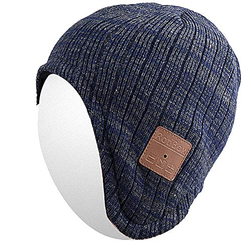 Qshell Wireless Bluetooth Beanie Hat Ear Covers Headphones Headsets with Speaker Mic Hands Free for Women Men Outdoor Sports,Compatible with iPhone 7/7 Plus,Samsung, Blue/Gray ()