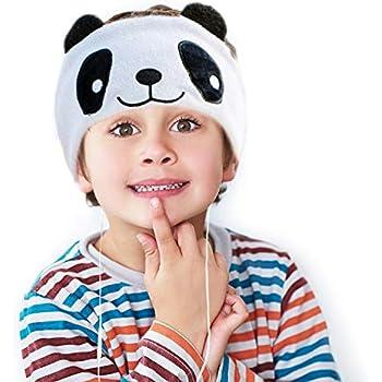 CHOKMAX Kids Headphones, Volume Limiting with Ultra Thin Adjustable Speakers Soft Children Fleece Headband Toddler Headphones for Home and Travel - White Panda