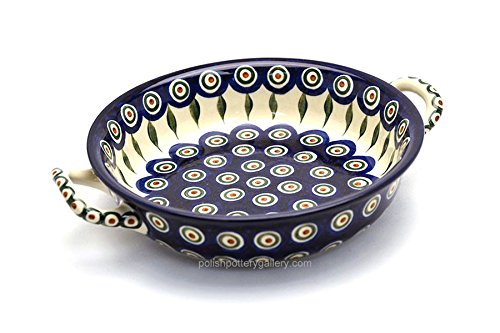 Polish Pottery Baker - Round with Handles - Medium - Peacock