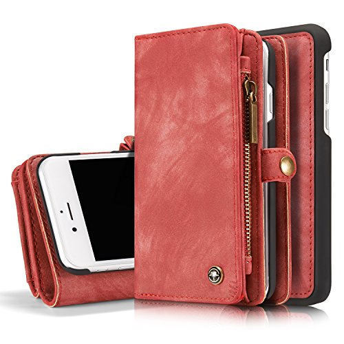iPhone 7 Plus/iPhone 8 Plus Wallet Case - MOONORN Premium Leather Zipper Purse Detachable Magnetic Flip Case Shockproof Cell Phone Case with Credit Card Slots (Red)