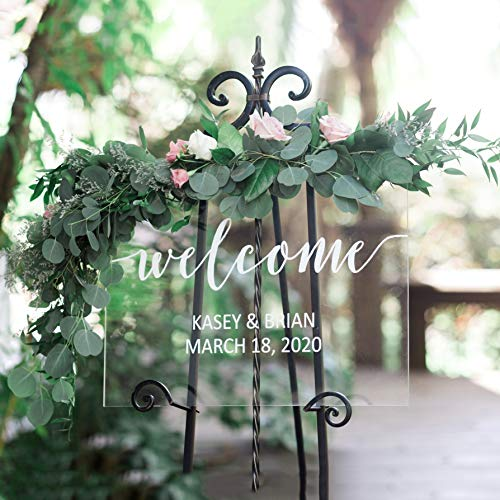 Clear Welcome Sign for Wedding, Glass Look Personalized Sign Modern Wedding Decoration Sign Clear Acrylic Welcome Sign ()