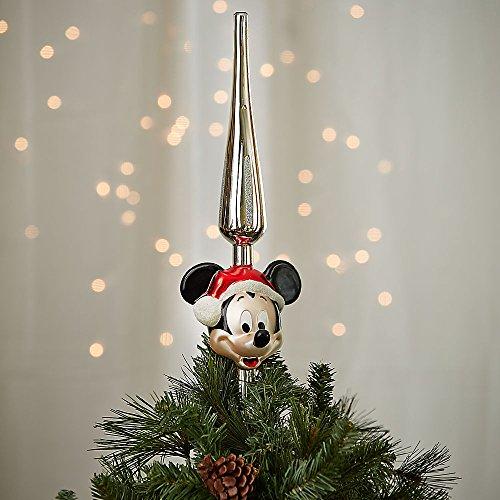 Disney Santa Mickey Mouse Glass Tree Topper