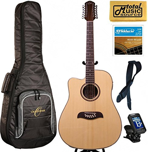 LEFTY Oscar Schmidt Acoustic/Electric 12 String Guitar, Gigbag Bundle by Oscar Schmidt