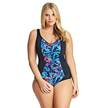Elomi Abstract Swimsuit with Moulded Cups in Black (ES7071) *Sizes 18-26*