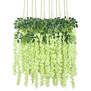 Duovlo 12 Piece Artificial Silk Wisteria Vine 3.6 Feet Ratta Hanging Flower Garland String Home Party Wedding Decor (Green) 55