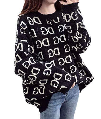 Tunica Rotondo Primaverile Lunga Maglioni Donna Maglieria Autunno Collo Prodotto Plus Eleganti Stampate Pullover Maglie Fashion Manica Nero CfxwS18q