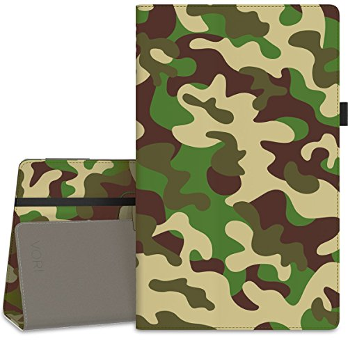 """Vori Case for All-New Amazon Fire HD 10 Tablet (7th Generation, 2017 Release) - Premium PU Leather Slim Fit Smart Stand Cover with Auto Wake/Sleep for Fire HD 10.1"""" Tablet, Camouflage"""