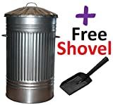 125L Litre Extra Large Tall Galvanised Steel Metal Bin + Free Shovel - Ideal for Animal Feed / Storage / Outdoor / Rubbish