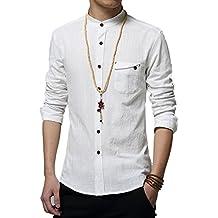 Plaid&Plain Men's Slim Fit Long Sleeve Banded Collar Solid Linen Shirts