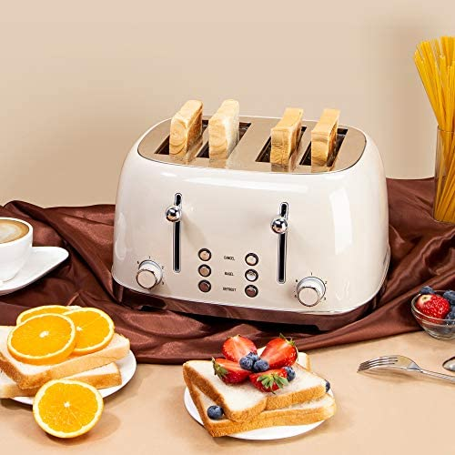 REDMOND 4 Slice Toaster Retro Stainless Steel Toasters with Bagel Defrost Cancel Function, 6 Browning Settings, Cream, ST033…
