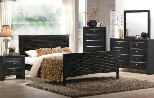 Night Stand with Storage Drawers – Black Finish