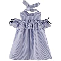 Scaling Girls Dress,Baby Girl Summer Off Shoulder Stripe Party Dress Elegant Beach Sundress with Headband by