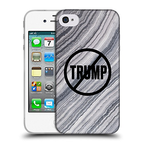 Super Galaxy Coque de Protection TPU Silicone Case pour // Q04110518 Never Trump marbre gris // Apple iPhone 4 4S 4G