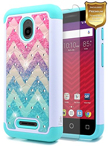 Alcatel Ideal Case with [Tempered Glass Screen Protector], Alcatel Pixi Avion/Pixi Bond/Dawn/ Streak NageBee Silicone Cover Studded Rhinestone Bling Design Hard Case (DOES NOT FIT IDEALXCITE) - Wave