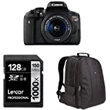 Canon EOS Rebel T6i Digital SLR with EF-S 18-55mm Lens + AmazonBasics DSLR Bag and 128 GB Lexar Memory Card