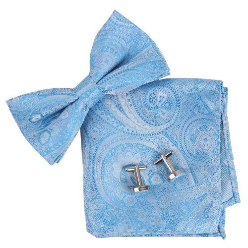 Epoint Mens Fashion Valentines Patterned Silk Pre-tied Bowtie Cufflink Hanky Set