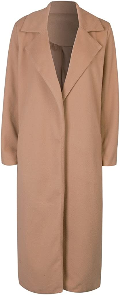 1920s Coats, Furs, Jackets and Capes History CR Womens Lapel Wool Blend Longline Winter Fall Warm Coat Overcoat CHARLES RICHARDS $47.99 AT vintagedancer.com